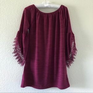 Win Win Open Sleeve Lace Tunic Top Size S-M